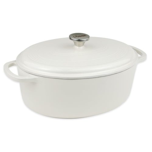 Lodge 6.6L Oval Enamel Dutch Oven Oyster 30cm