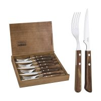 Tramontina Stainless Steel Flatware Set with Brown Polywood Handles and Wooden Case, 8pc set