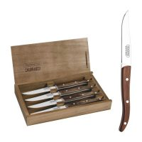Tramontina Stainless Steel Steak Knife Set With Brown Polywood Handles and Wooden Case, 4pc Set