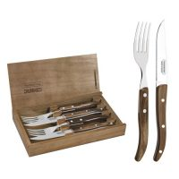 Tramontina Stainless Steel Braai Cutlery Flatware Set With Brown Polywood Handles and Wood Case, 4pc Set