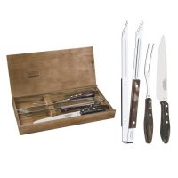 Tramontina Stainless Steel Barbecue Set With Brown Polywood Handles and Wood Case, 3pc Set